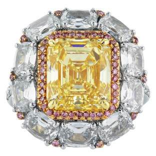 5.08 Carat Fancy Intense GIA Cert Diamond Gold Platinum Cluster Ring