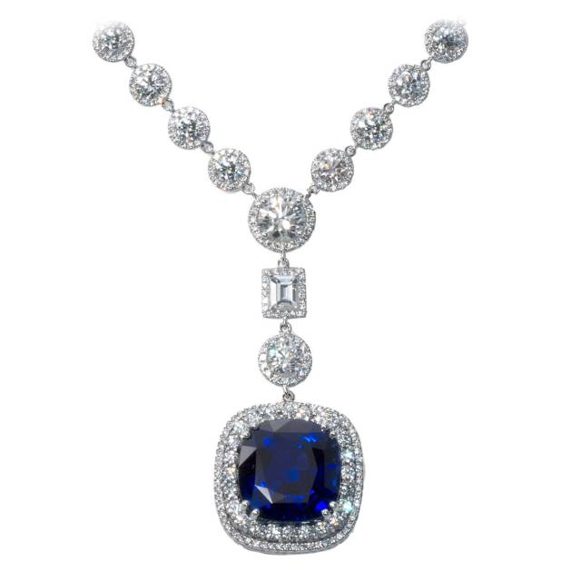 Cushion Sapphire Drop Necklace