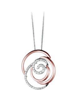 Damiani Rose necklace, in white, pink gold and diamonds (ct 0,72).