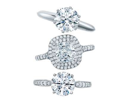 Engagement rings from top: The Tiffany® Setting, Tiffany Soleste®, and Tiffany Harmony™ with a bead set band.