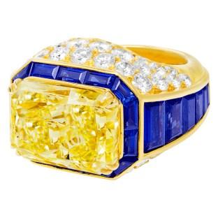12.24 carat radiant-cut yellow diamond sapphire diamond ring