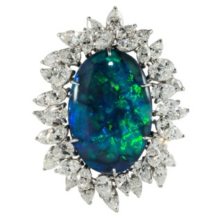 Spectacular Black Opal and Diamond Brooch