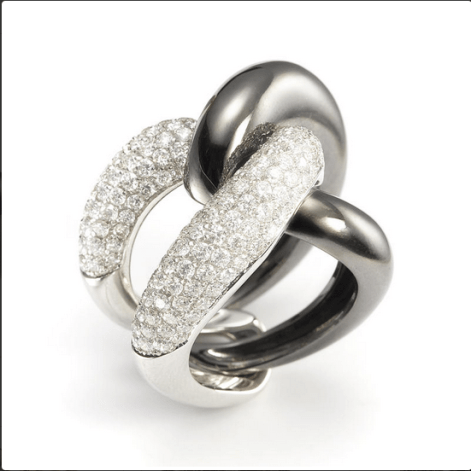 Mattioli Ying Yang ring, in white and black gold, with diamonds.