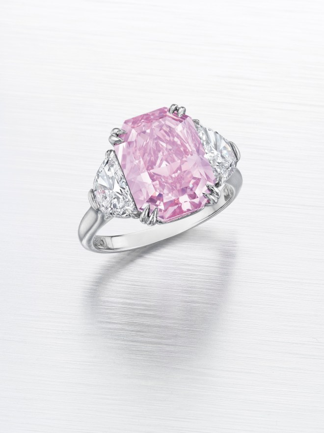 A fancy intense purplish pink diamond of 5.29 carats. Estimate $3,500,000 - 5,000,000.