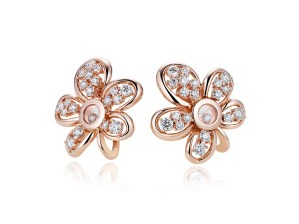 """Flower"" earrings from the Happy Diamonds Joaillerie collection in 18ct rose or white gold with two moving diamonds and set with brilliant cut diamonds of different sizes (2.7cts)"