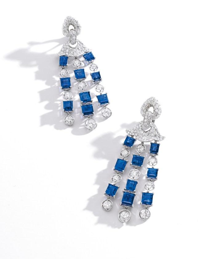 Marina B 38.56 ct Kashmir Sapphire and Diamond Pendent Earrings_RGB