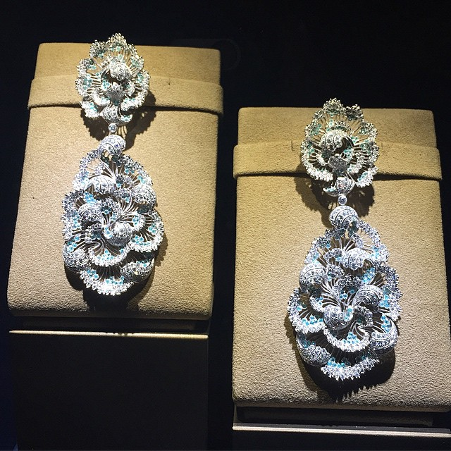 One-of-a-kind pendant earring inspired by Monet's painting.