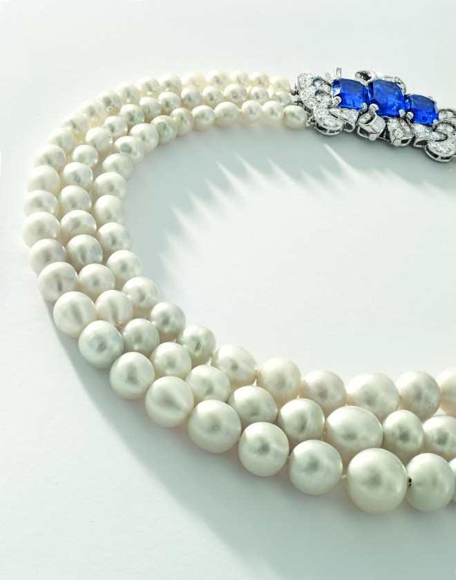Triple-strand Natural Pearl, Sapphire and Diamond Necklace_CMYK (1)