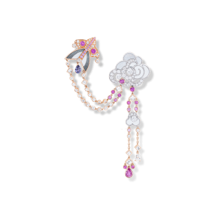 Cerfs-Volants clip. Pink gold and sapphires.