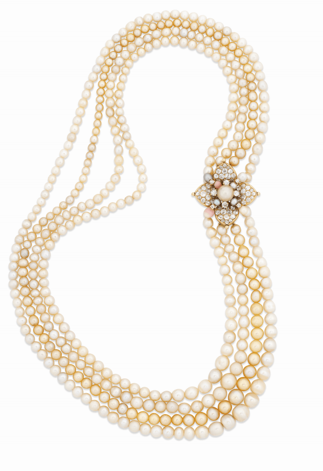 A natural pearl and diamond necklace A pair of fine natural pearl and Estimate: £80,000 - 120,000