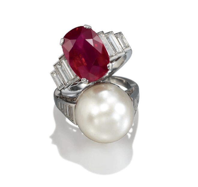 A NATURAL PEARL AND DIAMOND RING LOT 326 AND A RUBY AND DIAMOND RING LOT 327