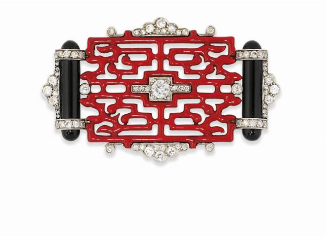 An Art Deco enamel and diamond brooch, by Cartier Estimate: £9,000 - 12,000