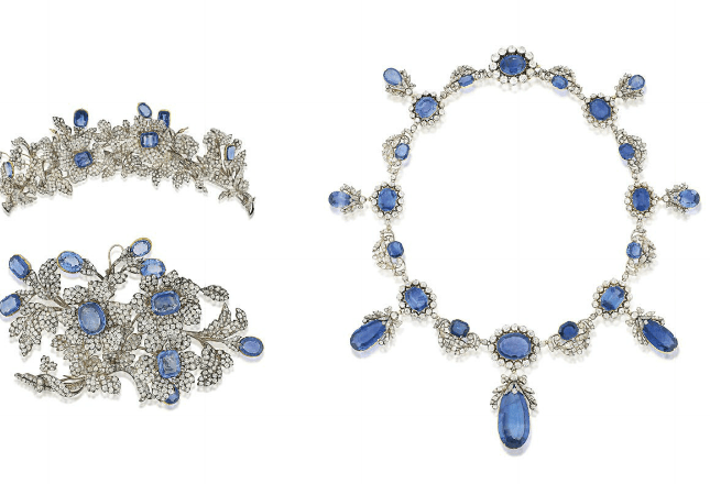 An important 19th century sapphire and diamond necklace, tiara and corsage ornament Estimate: £280,000 - 350,000