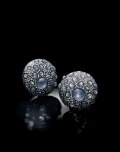 """A pair of sapphire and diamond """"shield"""" ear clips, by JAR"""