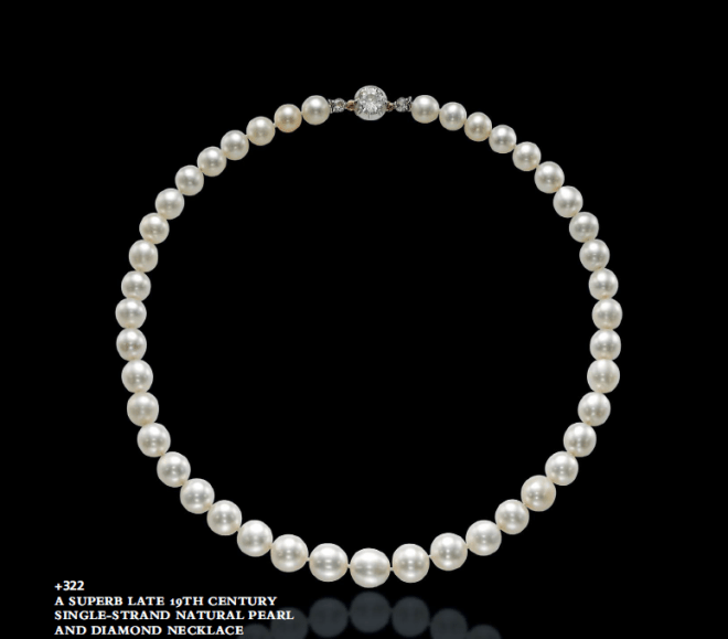 A single-strand natural pearl necklace.