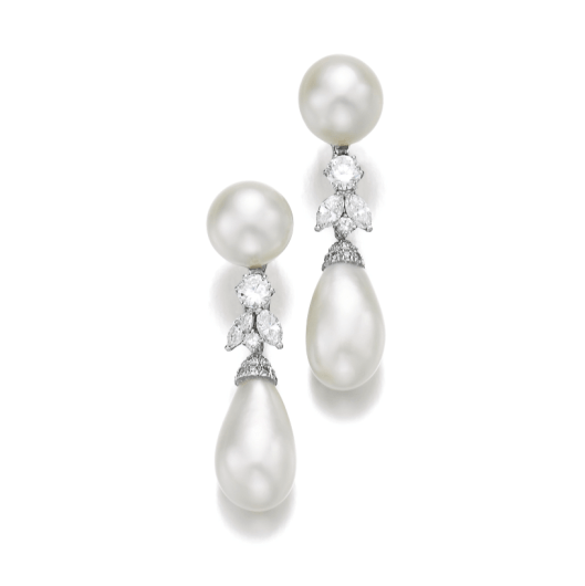 Pearl and Diamond Pendent Ear Clips, Petochi