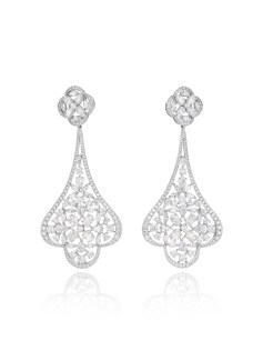 Earrings in platinum set with oval-cut, marquise-cut, pear-shaped and brilliant-cut diamonds