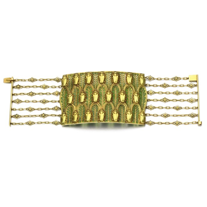 Gold and Enamel Bracelet, (Lot 248, est. £22,000–32,000/ €30,900–44,900/ US$ 32,900-47,900)