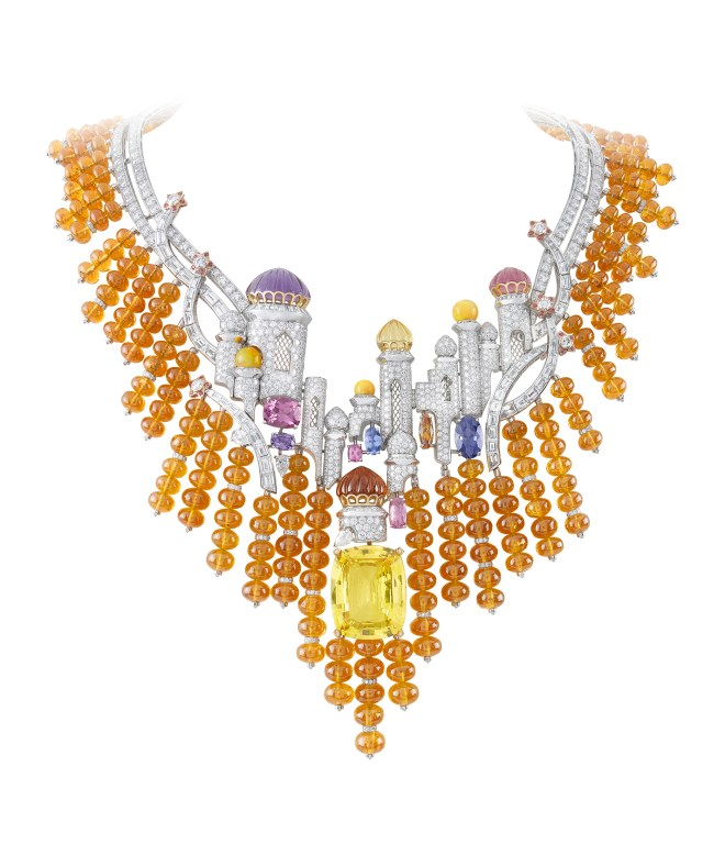Van Cleef & Arpels Izmir Necklace. Bals de Légende collection, 2012. White gold, pink gold, round, baguette-cut and pear-shaped diamonds, citrines, amethysts, pink tourmalines, white opal beads, spessartite garnet beads, oval-cut spessartite garnet, pink, blue and purple spinels, yellow gold, one cushion-cut yellow sapphire of 50.79 carats (Sri Lanka).