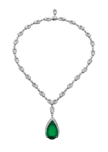 High Jewellery necklace in platinum with 1 pear shaped Colombian emerald (17.87 ct), 26 round brilliant cut diamonds (13.79 ct), round and fancy shaped diamonds (12.84 ct).