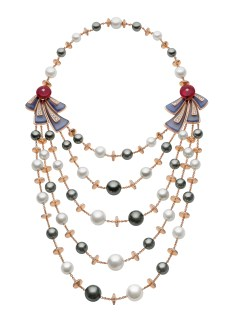 High Jewellery necklace in pink gold with 23 Tahitian cultured pearls, 24 South Sea cultured pearls, rubellites, calcedonies and pavé diamonds (20.86 ct).