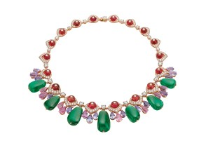 High Jewellery necklace in pink gold with 7 Zambia emeralds (120.61 ct), 24 pear shaped fancy spinels (36.80 ct), 18 rubellite beads (45.00 ct), 18 round brilliant cut diamonds (7.35 ct) and pavé diamonds (8.48 ct).
