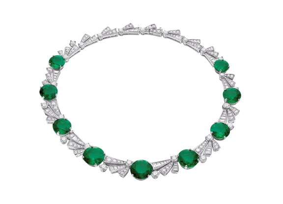 High Jewellery necklace in platinum with 9 Colombian round emeralds (57.60 ct), round brilliant cut diamonds (9.49 ct), tapered baguette diamonds (8.59 ct) and pavé diamonds (5.39 ct).
