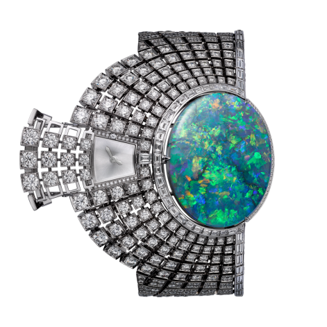 High Jewellery secret hour watch, quartz movement. Rhodium-finish 18K white gold case and bracelet set with an oval-shaped opal of 51.13 carats, 827 brilliant-cut diamonds totalling 22.49 carats and 51 baguette-cut diamonds totalling 3.71 carats.