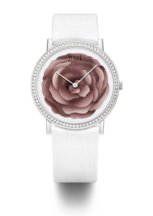 Hard Stone Marquetry. Piaget Altiplano 38mm watch in 18K white gold featuring a bezel set with 78 brilliant-cut diamonds (approx. 0.7 ct). Dial in white gold with Mexican Royal Imperial Jasper and cachalong depicting the Yves Piaget rose. 18-piece limited edition.