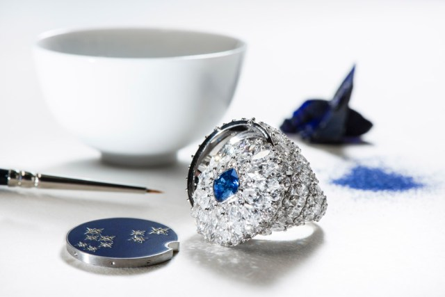 Piaget diamond and night blue enamel secret ring.