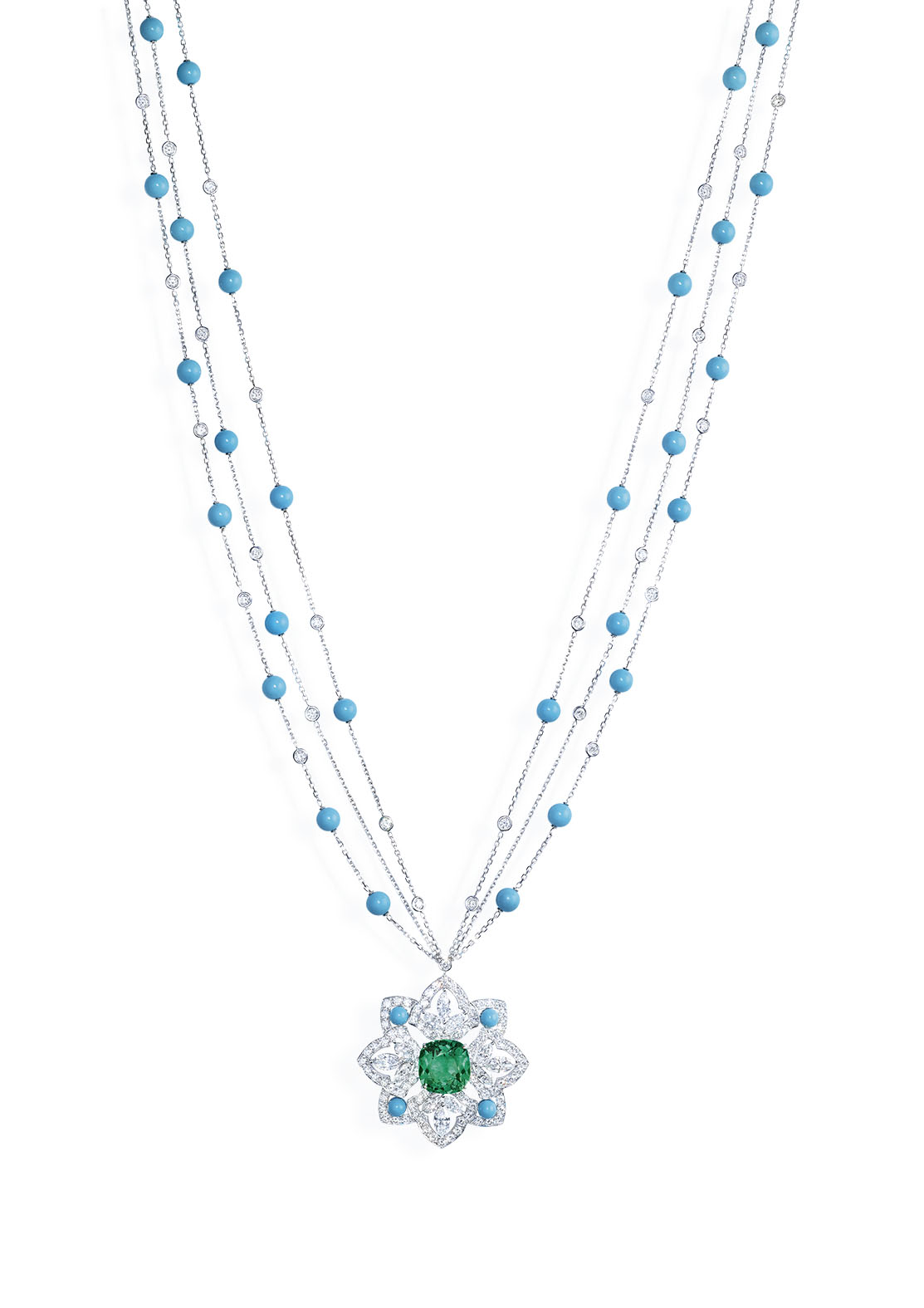 Necklace in 18K white gold set with 1 cushion-cut emerald (approx. 11.16 cts), 12 marquise-cut diamonds (approx. 4.20 cts), 32 turquoise beads (approx. 11.10 cts) and 151 brilliant-cut diamonds (approx. 9.86 cts).