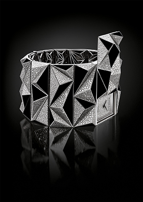 A dramatic shot of the Diamond Punk watch accentuating its geometric volumes.