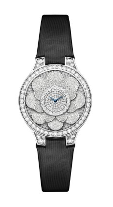 Graff Icon Watch: full diamonds and black satin strap.