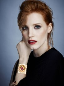 Jessica Chastain, Piaget Brand Ambassador. Photographer: James White. Stylist: Elizabeth Stewart - Givenchy top. Hair stylist : Renato. Make-up artist : Mary Greenwell
