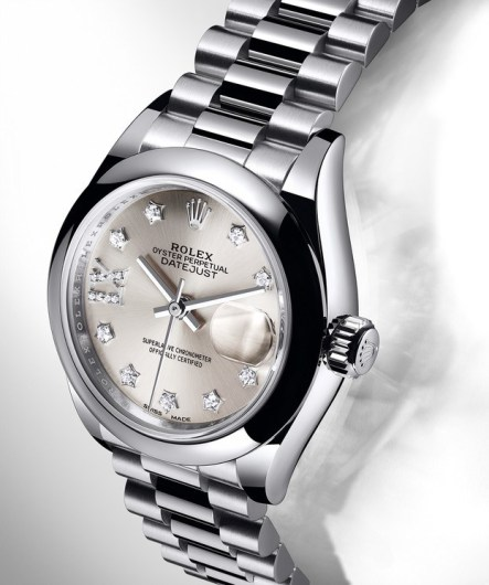 Rolex Lady-Datejust 28mm in platinum and President bracelet.