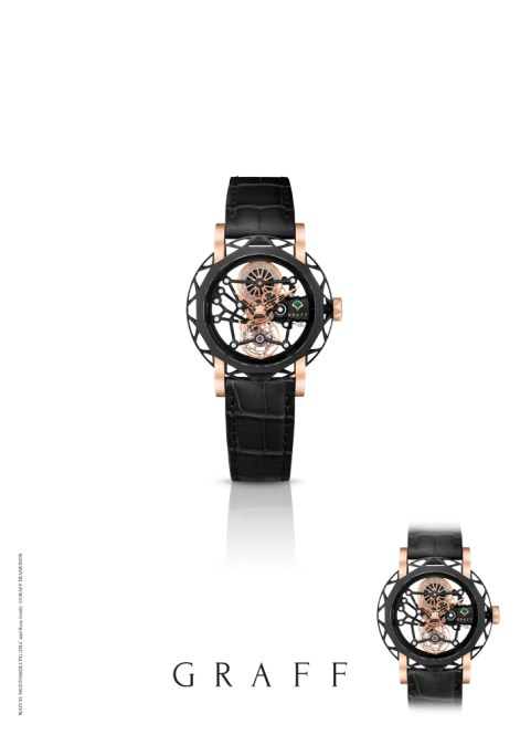 MasterGraff Structural Tourbillon Skeleton in black DLC with rose gold detailing