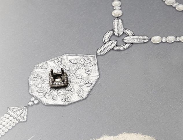Boucheron Nagaur Necklace sketch and diamond setting.