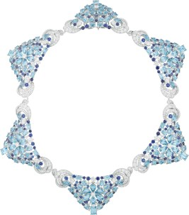 Lagune Précieuse Necklace. Necklace, white gold, round, baguette-cut and pear-shaped diamonds, sapphires, round, octogonal, square-cut, oval-cut and pear-shaped aquamarines.