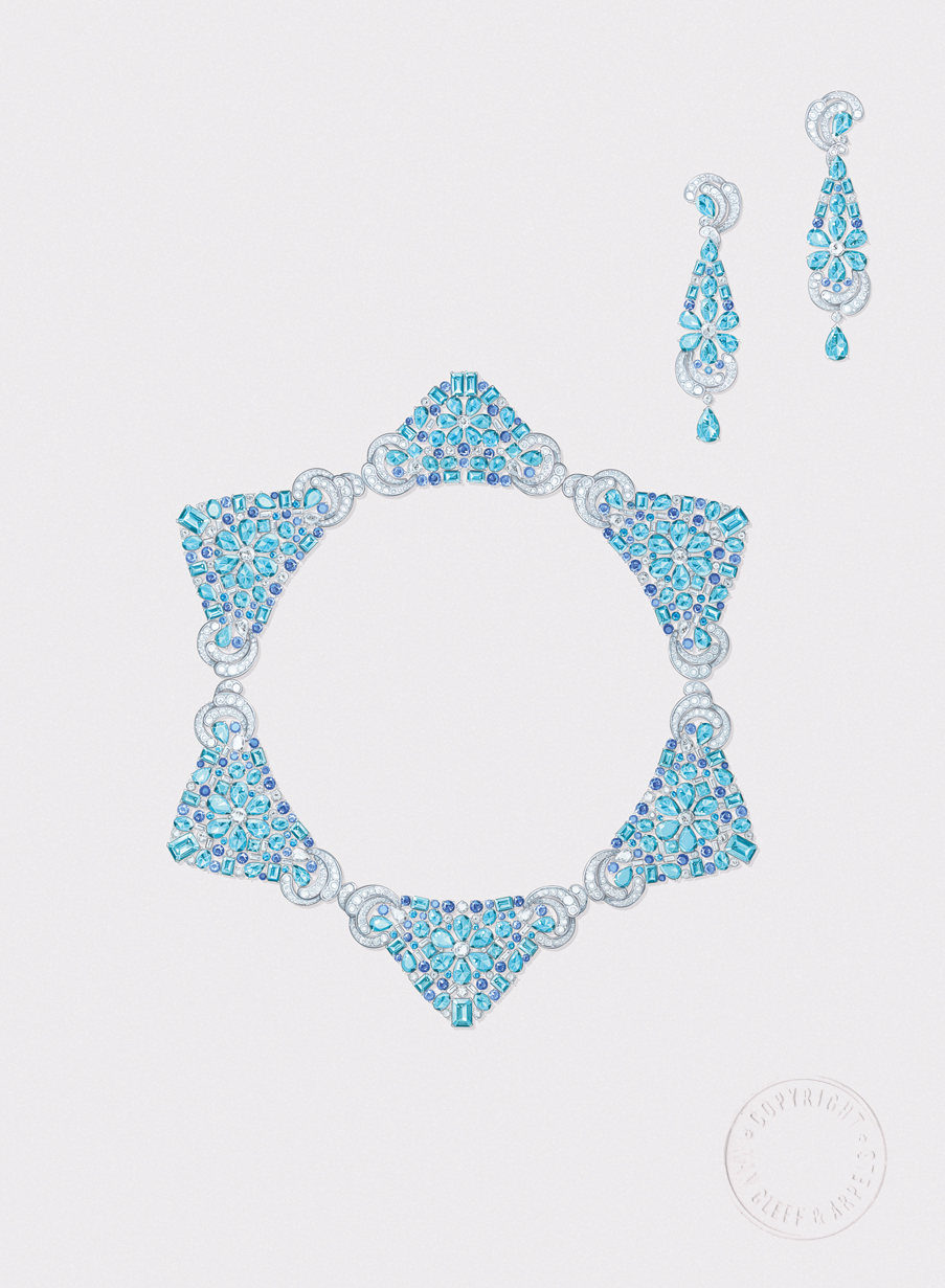Lagune Précieuse Necklace. Necklace, white gold, round, baguette-cut and pear-shaped diamonds, sapphires, round, octogonal, square-cut, oval-cut and pear-shaped aquamarines. Earrings, white gold, diamonds, sapphires, round, octogonal, square-cut, oval-cut and pear-shaped aquamarines.