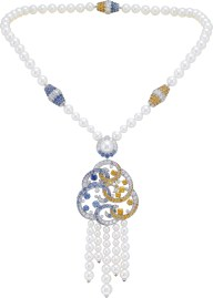 Benguerra long necklace. Long necklace, white gold, diamonds, blue and yellow sapphires, spessartite garnets, white cultured pearls. This long necklace is transformable.