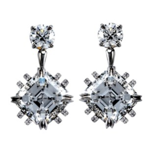 A pair of earrings each containing one Asscher-cut Diamond weighing 3.41 carats suspended from a 0.42 carat round Diamond, encircled with rows of 1mm melee. 8.49 carats total Diamond weight. Platinum and 18-karat yellow gold. Signed by artist. Crafted in the USA.