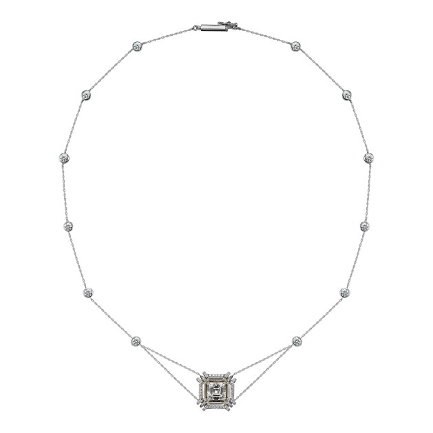 A 2.00 carat Asscher-cut Diamond encircled with Alexandra Mor's signature details of 1mm knife-edged wire, complemented by a bezel-set Diamond chain, comprised of a pair of Brilliant-cut Diamonds coupled with 12 evenly spaced round Diamonds. Platinum set on an 18-karat yellow gold AM logo gallery. Signed by artist. Crafted in the USA.