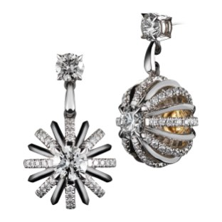 Dangling Snowflake Diamond Earrings suspended by a pair of brilliant-cut Diamonds*, with Alexandra Mor's signature details of 1mm 'floating' Diamond melee and knife-edged wire. 2.61 carats total Diamond weight. Platinum set around 18-karat yellow gold AM logo gallery. Signed by artist. Crafted in the USA. Limited-Edition 1/50 *GIA Certified F Color and V I-S Clarity Diamonds.