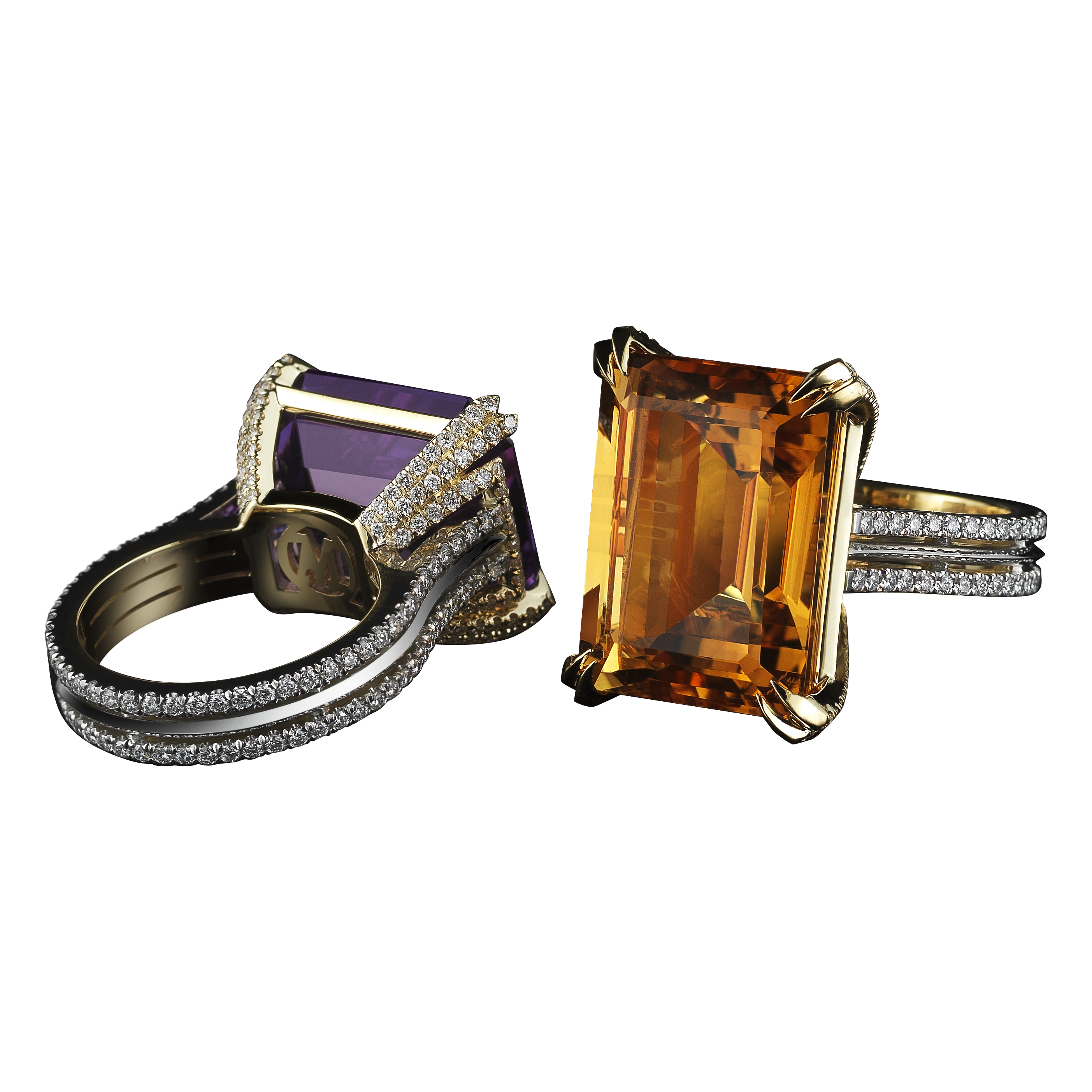 Medi Honey Citrine and Diamond Ring; Medi Purple Amethyst and Diamond Ring.