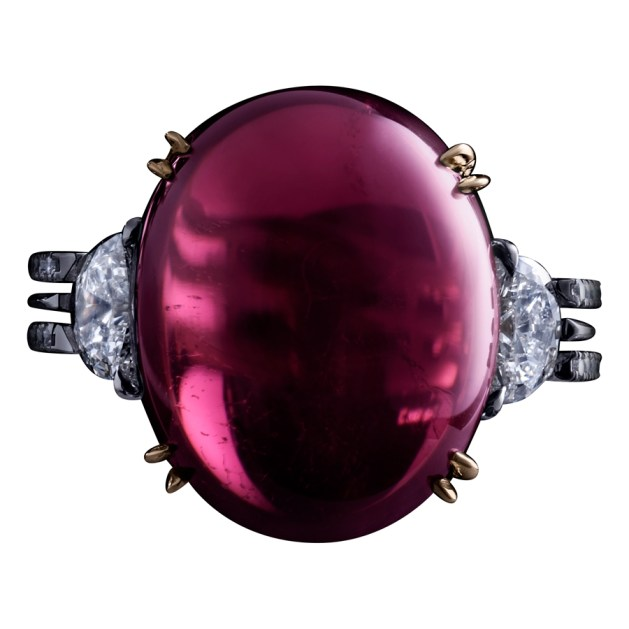 A 19.80 carat double-Cabochon Rubelite (pink Tourmaline) ring, accented by a pair of 0.85 carat half-moon Diamonds and a double band of 1mm 'floating' Diamond melee. Platinum set around a band of 1mm 18-karat yellow gold. Signed by artist. Crafted in the USA. Limited-Edition 1/10