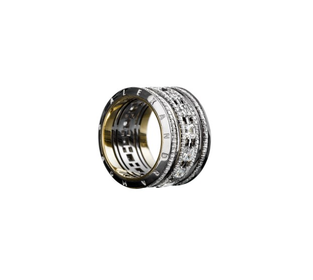 """A wide eternity band comprised of 14 ideal-cut Asscher- cut Diamonds intertwined with Alexandra Mor's signature details of 1mm melee bands and knife-edged wire. 18-karat white gold set around 18-karat yellow gold with """"Alexandra Mor"""" engraved on beveled edges. 4.20 total carat weight. Available in 18-karat yellow gold, 18-karat white gold and platinum. Signed by artist. Crafted in the USA. Limited-Edition 1/50"""