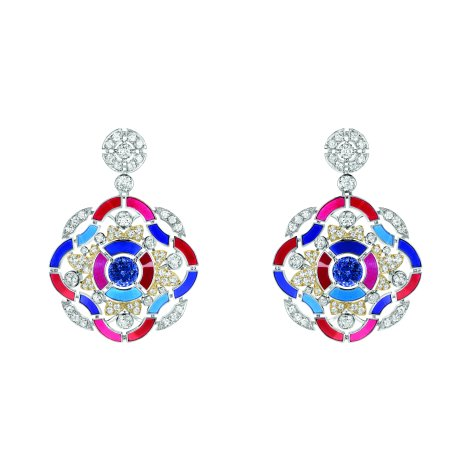 """Hypnotique"" earrings in 18K white and yellow gold set with 2 brilliant-cut blue violet tanzanites for a total weight of 3 carats, 124 brilliant-cut diamonds for a total weight of 4.1 carats and multicolored lacquer. CHANEL Joaillerie"