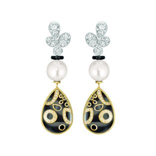 """""""Mystérieuse"""" earrings in 18K white and yellow gold set with diamonds, cultured pearls, rock crystal cabochons and black lacquer. CHANEL Joaillerie"""
