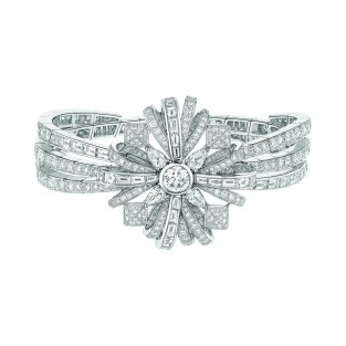 """Attirante"" bracelet in 18K white gold set with a 1-carat brilliant-cut diamond, 4 pear-cut diamonds for a total weight of 1 carat, 12 square-cut diamonds for a total weight of 1.3 carat, 24 baguette-cut diamonds for a total weight of 3.1 carats and 347 brilliant-cut diamonds for a total weight of 8.4 carats. CHANEL Joaillerie"