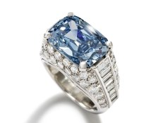 The Bulgari 'Trombino' ring auctioned at Bonhams in April, set with a cushion-shaped fancy deep-blue diamond weighing 5.30ct, realised £6.2 million, more than four times its high estimate. The extraordinarily rare, fancy deep-blue diamond ring by Bulgari sold to Graff Diamonds for a world recording-breaking price per carat of US$1.8 million.